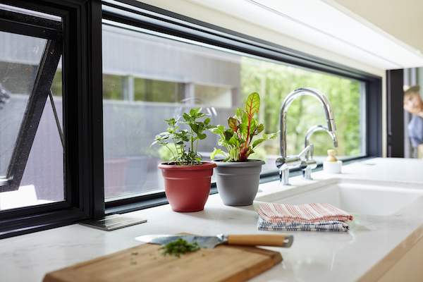 Bloem Planters on a countertop next to a sink